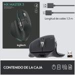 Logitech MX Master 3 Advanced Ratón Inalámbrico, Receptor USB, Bluetooth, 2.4GHz, Desplazamiento Rápido, Seguimiento 4K DPI en Cualquier Superficie, 7 Botones, Recarcable, PC, Mac, iPadOS, Negro10