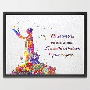 dignovel Studios le petit prince citation Inspiration Art le petit prince Aquarelle Art Poster Print Home Decor mural pour enfants Chambre Art cadeau d'anniversaire n154-unframed