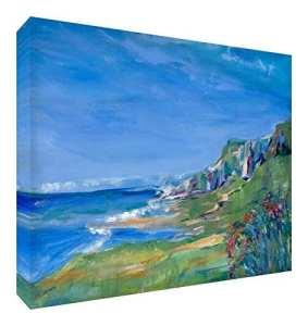 Feel Good Art Toile aux Couleurs Vives Abstrait Appartenant de l'Artiste Val Johnson Flanc de Coteau 115 x 78 x 4 cm Taille XXL
