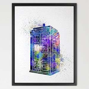 dignovel Studios Tardis Doctor Who Multi Couleurs Dr Who Aquarelle Art Print Art Mural à suspendre Home Decor Nursery enfants art Fine Art Print Motivation Inscription n360-unframed