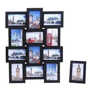 Songmics Cadre Photo Pêle-mêle Mural en MDF Capacité de 12Photos noir +1 cadre photo sur table offert RPF112H