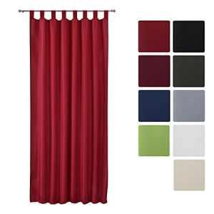 Beautissu® Rideau opaque à passant Amelie – Voilage uni à pattes – 140×175 cm – Décoration intérieur – Rouge