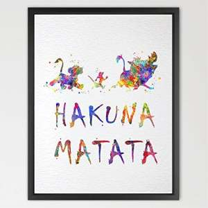 dignovel Studios Hakuna Matata le Roi Lion Imprimé Aquarelle Art mur Art Poster geekery Home Decor Motif Décoration Murale Art Home Decor mural n314-unframed