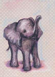 Oopsy Daisy sur toile Décoration murale, éléphant bébé, 35,6x 45,7cm