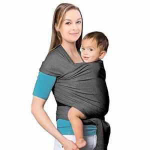 MTURE Écharpe porte-bébé en coton naturel, Écharpe de portage pour bébé Élégant et Comfortable – Prenez votre Bébé près de votre Cœur (Gris)
