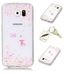 Etui Coque PU Slim Bumper pour Samsung Galaxy S6 Souple Housse de Protection Flexible Soft Case Cas Couverture Anti Choc Mince Légère Silicone Cover Bouchon -photo Frame Keychain #AH (8)