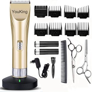 YouKing Tondeuse à cheveux,Clippers de toilette sans fil à faible bruit Et coupe-cheveux pour hommes et bébé,2 piles rechargeables, 8 paires par(or)