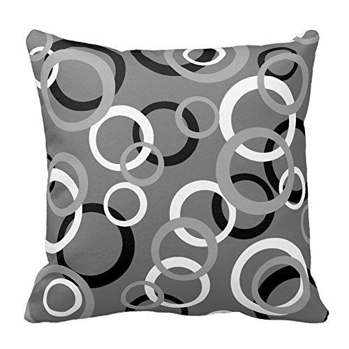 Cercle gris et noir blanc imprim couvre lit d coratif - Housse coussin 60x60 pour canape ...