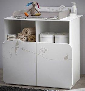 Commode table à langer avec 2 portes et 2 niches, Coloris blanc motif jungle, 87 x 101 x 73 cm -PEGANE-