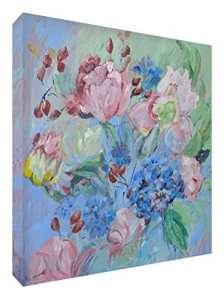Feel Good Art Toile aux Couleurs Vives Appartenant de l'Artiste Val Johnson Posy de Roses 96 x 96 x 4 cm Taille XXL