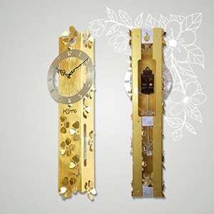 sjmm Salon Chambre à coucher étude Bell personnalité Rectangle Silencieux Horloge murale Modern Luxury Home Décoration Horloge créative, Gold
