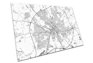 York Angleterre Street Map noms et noms de route de la ville Ville carte de Noir et blanc, A3 Print Only