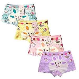 ARAUS-Lot de 4 Fille Bébé Enfant Culotte Sous-Vêtement en Coton Boxer Slip Motif Mignon Lapin (2-4 ans)