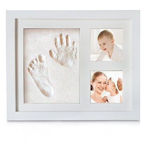 Blanc Pootack Cadre Empreinte B/éb/é Cadre de Photo pour Souvenir la Naissance de Bebe et Enregistrer les Empreintes du Pied et Main de B/éb/é Un cadre un empreinte