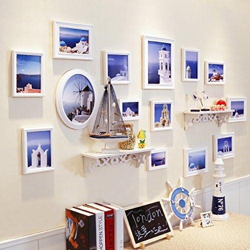 HJKY Photo Frame Wall Set Table-étagère mur mur mur photo cadre photo créatif combinaison de salle à manger salon chambre à coucher photo blanc pur des murs + La puce art Méditerranée