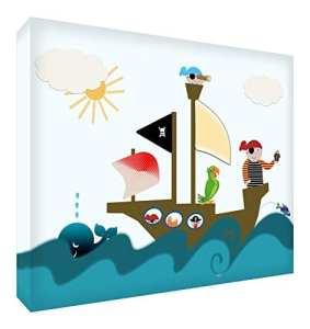 Feel Good Art Pirates Grand Toile sur Cadre avec Front Solide dans Style d' Illustration Moderne Multicolore 60 x 40 x 4 cm