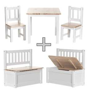 Ensemble table et chaises pour enfants BABYDAY ® | 1 table, 2 chaises, 1 banc coffre | Kit complet de meubles pour enfants, banc avec espace de rangement inclus | 4 couleurs au choix -> NW