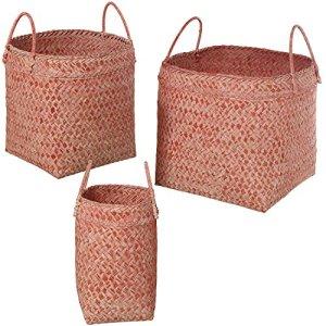DonRegaloWeb–Set de 3paniers en bambou tressé avec anses en rose