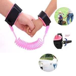 Aliyao Anti-enfant perdu avec laisse ehors bracelet impuissant Bébé apprentissage pour bébé à marcher corde anti-perte ceinture de sécurité Voyage doit aller(1,5 m et 2,5 m) (1.5 rotatif, Rose)
