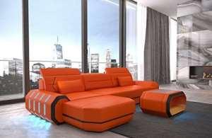 Canapé en cuir roma en forme de l ORANGE-NOIR Canapé-lit canapé d'angle design Canapé en cuir Appui-tête éclairage LED Lumiere et beaucoup plus