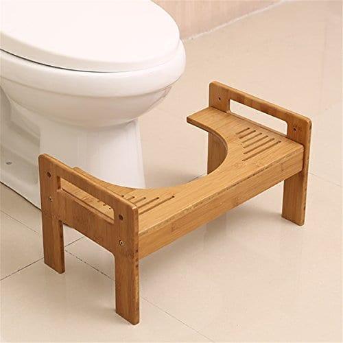 Jeteven Tabouret de Toilettes en Bois Repose-Pied Médical WC Position Assise Saine Contre Hémorroïde Constipation