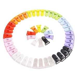 LIHAO Pince à Sucette Bretelle Attache Clip en Plastique – Lot de 50 pièces, 10 couleurs