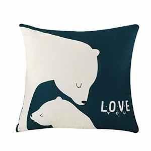 Treestar 1pcs Roman Art Famille d'ours polaires Taie d'oreiller carrée Canapé Taie d'oreiller de voiture Oreiller protection 45× 45cm