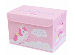'Boîte à jouets «Licorne stpuun01pliable avec poignées en rose de A Little Lovely Company