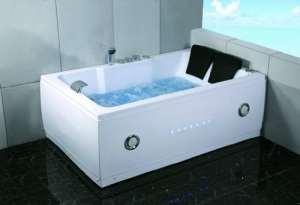 2Deux personne d'intérieur Whirlpool hydrothérapie de massage Blanc Baignoire Baignoire avec télécommande Bluetooth gratuit de mise à niveau, et de l'eau de chauffage par symbolique spas