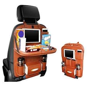 Organiseurs pour voiture avec Pliable repas du cadre, Pushingbest Pochette de siège de voiture Sac de rangement de voiture, Imperméable et Durable Dirty-proof Anti-Kick Back Seat Protector