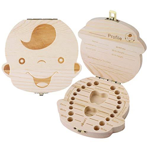 Boîtes De Dents De Lait Bébé Boîte Rangement Dents Pour Enfant Garçon/Fille  Bois Cadeau Souvenir Teeth Box