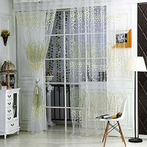 Sankt Voilage à l'aspect rustique de barre de poche Panneau de fenêtre Home D ¨ ¦ cor pour chambre à coucher, panneau (1, 39Wx79l inch, 39wx106l pouce), Green, 39*79inch
