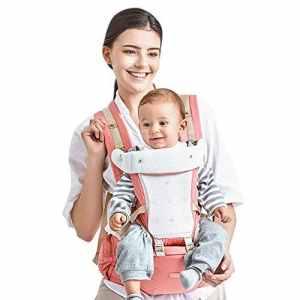 Kidsidol Porte-Bébé 4 en 1 Hipseat Ergonomique Porte-Bébé Sac à Dos Kangourou Porte Bébé Détachable 4 Options de Portage safes et comfortables adaptées aux bébés de 0-3 ans (rose)