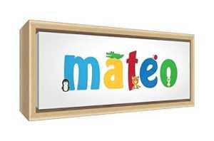 Little Helper Toile avec Cadre en Bois Massif Naturel Style Illustratif Coloré avec le Nom de Jeune Garçon Mateo 19 x 46 x 3 cm Petit