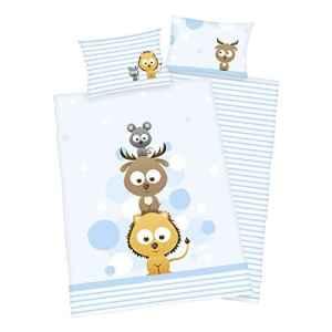 3 pièces Baby Parure de lit réversible Motif: Amis des animaux – en flanelle – 100 x 135 cm + 40 x 60 cm + 1 Drap Housse en blanc 70 x 140 cm