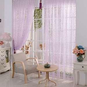 Sankt Sheer Rideaux Passe Tringle en-têtes solide Voile fenêtre Draperies Rideaux pour le salon, la (1Panel, 39W X 79L), violet, 39*79inch