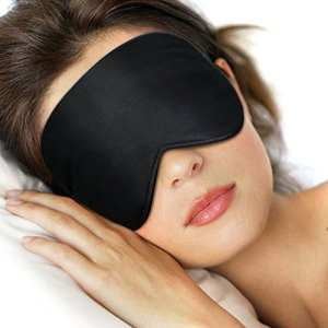 Lifebee Masque des Yeux pour Dormir 100% Soie Naturelle Occultant Ultra-Douce Masque de Sommeil Lanière Réglable Noir