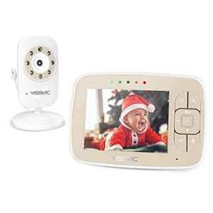 YISSVIC Babyphone Bébé Moniteur 3,5″ LCD Couleur Ecoute Bébé Vidéo Babyphone Caméra Surveillance Bidirectionnelle 2,4 GHz Vision Nocturne Support 4 Caméras