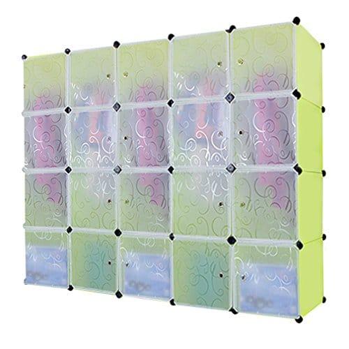 DIY armoire modulaire, séparateurs étagère par modules, armoire de rangement, 20Cubes Extra grands avec portes 2barres pour suspendre vêtements, Organisateur Convertible pour du Linge chaussures jouets et livres, Blanc, embossage de Fleurs, 20Cubes, Vert