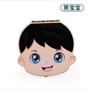 doitsa Boîte de stockage de Dents lanugo pour bébé cadeaux boîte commémorative Lindo anglais enfant 12.5*12.5*2.5cm garçon