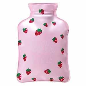 Ellaao Bouillotte Uni en PVC Dessin animé Fruits Série Mini chauffe eau Sac avec housse rapidement soulager les douleurs Confort veille 17* 11cm