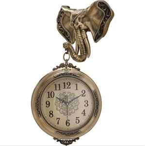 FOOSKOO Wall Clocks Éléphant Horloges Murales Double Face Style Européen Vintage Horloge Innovante À La Mode Double Face Horloge Murale Chiffres Romains + Chiffres Arabes, Pur Cuivre