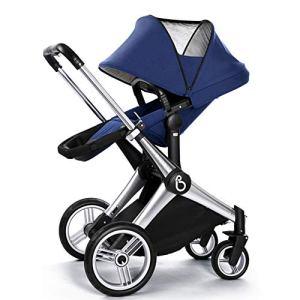 Poussette de bébé, deux voies amortisseur poussette pliante bébé poussette pliable avec harnais de sécurité à 5 points multi-position siège inclinable grand panier de rangement roues de suspension