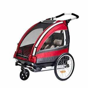 CHEERALL Enfants Poussette multifonctionnelle Jogger Pliable 2 Places remorque Pliante avec Roue rotative à 360 ° pour Enfants remorque de Transport de Buggy Transporteur pour 2 Enfants