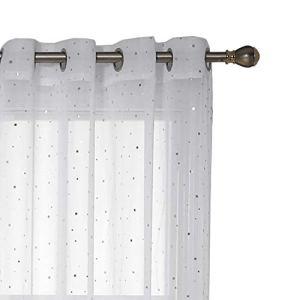 Deconovo Lot de 2 Voilages Rideaux à Oeillets Paire de Rideaux Voilages Blanc Motif des Petits Etoiles Imprimés Argents en Chambre Enfant Fille 140x175cm