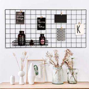 Oucles Ensemble de 1 Mur de Grille Photo de, Organisateur de décoration Murale, présentoir Suspendu, Rangement Mural Multifonctionnel pour la Cuisine et Le Bureau de Taille 17,7″ x37,4 (Noir)