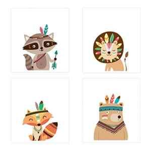 Pinji 11.81×8.27 Set de 4 Posters pour Chambre de Bébé ou d'enfant sans Cadre pour Fille Garçon Poster Animal Impression Art Affiches Décorations Murales