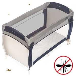 Zamboo – Moustiquaire universelle pour Lit Parapluie | Filet Anti-Moustique pour Lit Bébé, Berceau – 120 x 60 / 90×40 cm – Résistant et Lavable en Machine – Gris