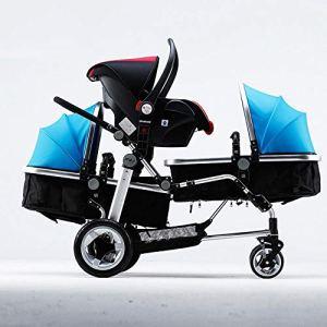 ZhiGe Poussette pour Bebe Poussette triplés Poussette Chariot Haute-Vue Poussette bébé
