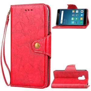 EINFFHO Coque Redmi 4 Pro, Rétro Luxe Coque en Cuir avec Souple Silicone Case Portefeuille Premium PU Leather Wallet Pouch Folio Flip Cover Housse Étui pour Redmi 4 Pro, Rouge